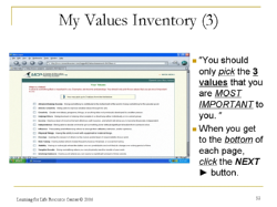 values inventory